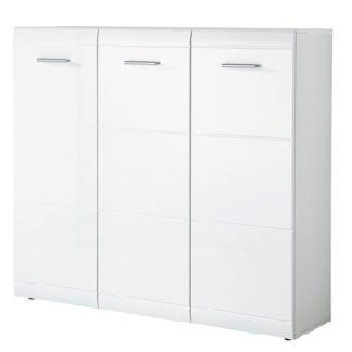 An Image of Adrian Large Shoe Cabinet In White Gloss Fronts With 3 Doors