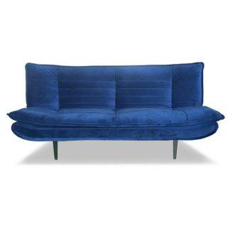 An Image of Reber Velvet Sofa Bed In Blue Finish With Black Metal Legs