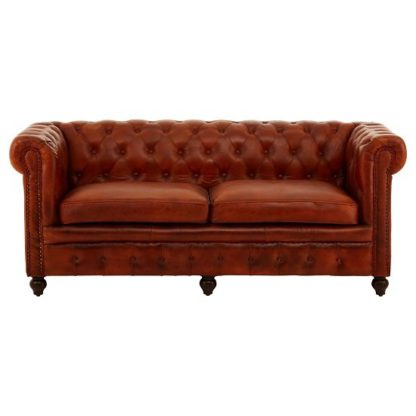 An Image of Ratliff Chesterfield Design Leather Three Seater Sofa In Tan