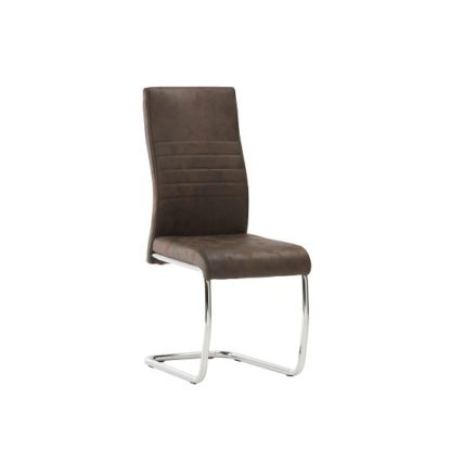 An Image of Cannes Dining Chair In Brown Faux Leather With Chrome Base