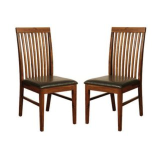 An Image of Solaris Acacia Dining Chairs In Pair
