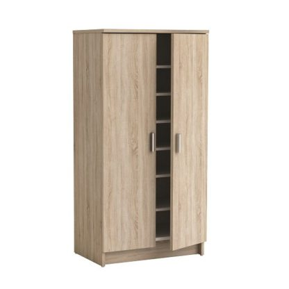 An Image of Devon Shoe Storage Cabinet In Brushed Oak With 2 Doors