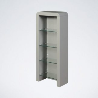 An Image of Norset CD DVD Storage Unit In Grey Gloss With 4 Glass Shelf
