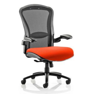 An Image of Houston Heavy Black Back Office Chair With Tabasco Red Seat