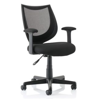 An Image of Camden Fabric Mesh Office Chair In Black With Fixed Arms