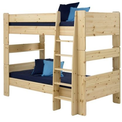 An Image of Pathos Wooden Bunk Bed In Pine With Ladder