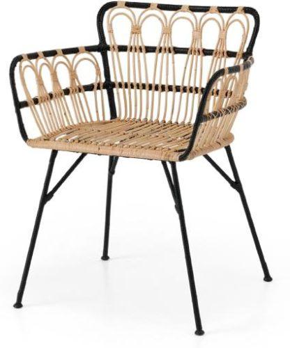 An Image of Jurupa Dining Chair, Natural Cane & Black
