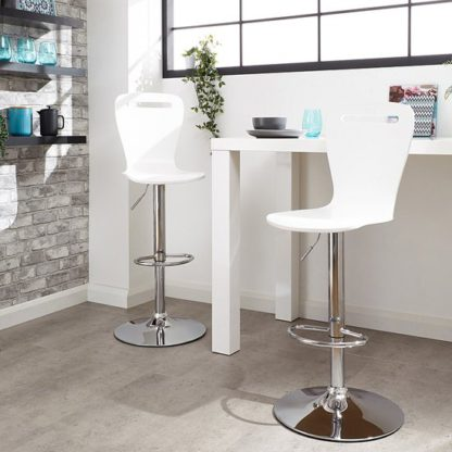An Image of Long Island White Wooden Gas-lift Bar Stools In Pair