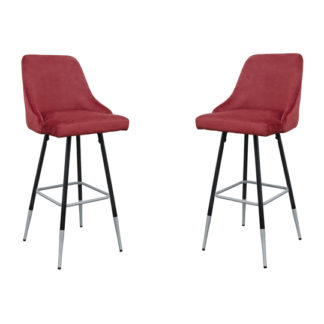 An Image of Fiona Red Fabric Bar Stool In Pair