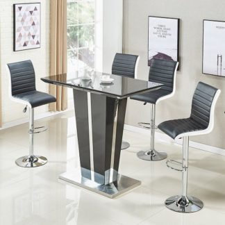 An Image of Memphis Glass Bar Table In High Gloss Black And 4 Ritz Stools
