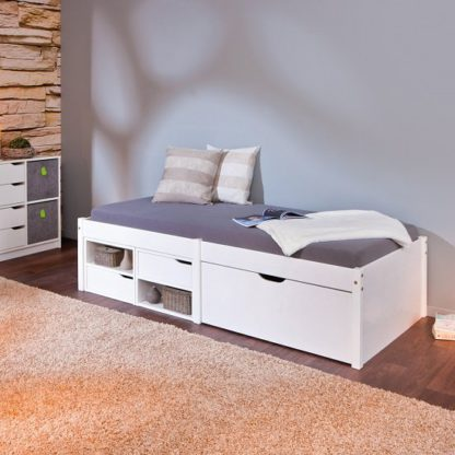 An Image of Camden Storage Bed In White With 2 Drawers And Pullout Cabinet