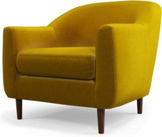 An Image of Custom MADE Tubby Armchair, Saffron Yellow Velvet with Dark Wood Legs