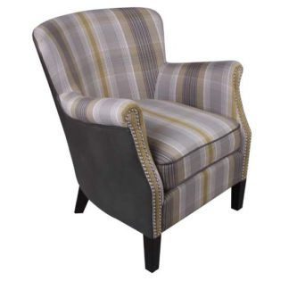 An Image of Aquarii Chenille Leather Fabric Lounge Armchair In Yellow Check