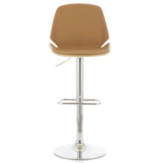 An Image of Elicia Bar Stool In Oak And Beige PU With Chrome Base