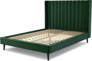 An Image of Custom MADE Cory King size Bed, Bottle Green Velvet with Black Stained Oak Legs