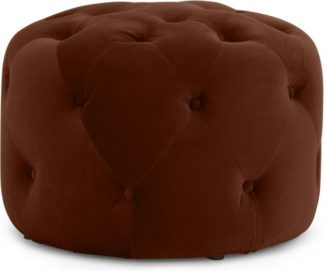 An Image of Hampton Small Round Pouffe, Warm Caramel Velvet