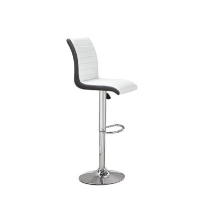 An Image of Ritz Bar Stool In White And Black Faux Leather With Chrome Base