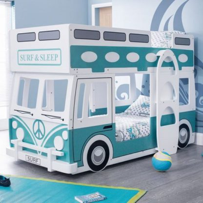 An Image of Grasty Campervan Style Kids Bunk Bed In White And Blue