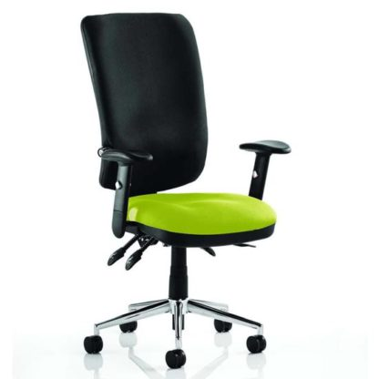 An Image of Chiro High Black Back Office Chair In Myrrh Green With Arms