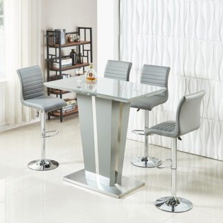 An Image of Memphis Glass Bar Table In High Gloss Grey And 4 Ripple Stools