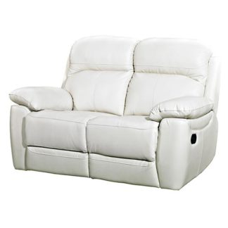 An Image of Aston Leather 2 Seater Recliner Sofa In Ivory