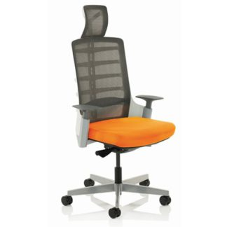 An Image of Exo Charcoal Grey Back Office Chair With Tabasco Red Seat