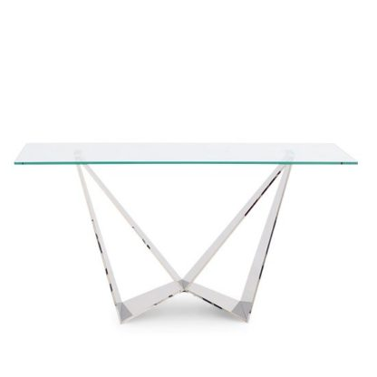 An Image of Diego Glass Console Table In Clear With Stainless Steel Base