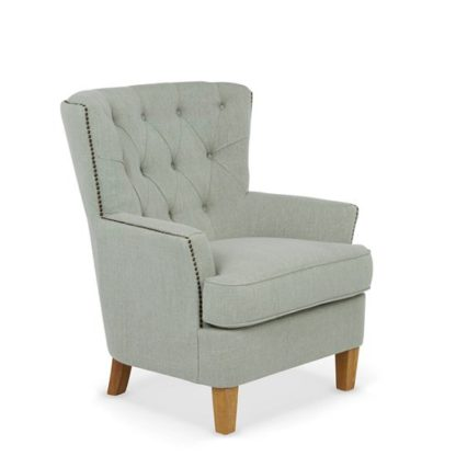 An Image of Arcadia Fabric Lounge Chair In Duck Egg With Light Wooden Legs