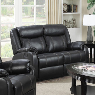 An Image of Leeds LeatherLux And PU Recliner 2 Seater Sofa In Gun Metal