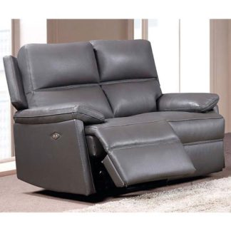 An Image of Bailey Leather 2 Seater Electric Recliner Sofa In Grey