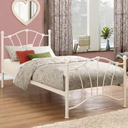 An Image of Sophia Steel Single Bed In Cream