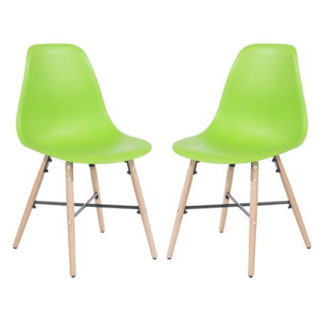An Image of Arturo Green Bistro Chair In Pair With Oak Wooden Legs