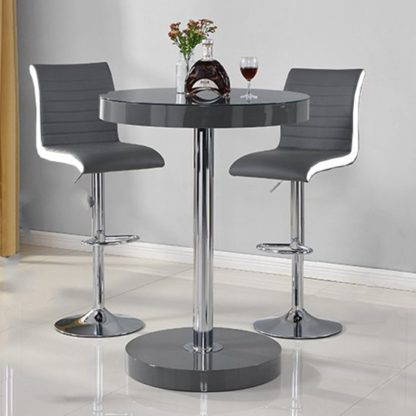 An Image of Havana Bar Table In Grey With 2 Ritz Grey And White Bar Stools
