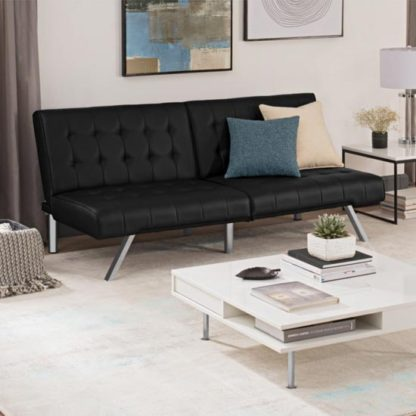 An Image of Emily Faux Leather Convertible Sofa Bed In Black