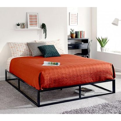 An Image of Platform Metal Double Bed In Black