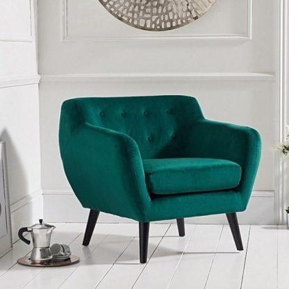 An Image of Alvey Modern Accent Chair In Green Velvet With Dark Legs