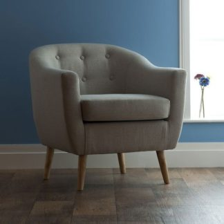 An Image of Felio 1 Seater Sofa In Natural Fabric With Wooden Legs