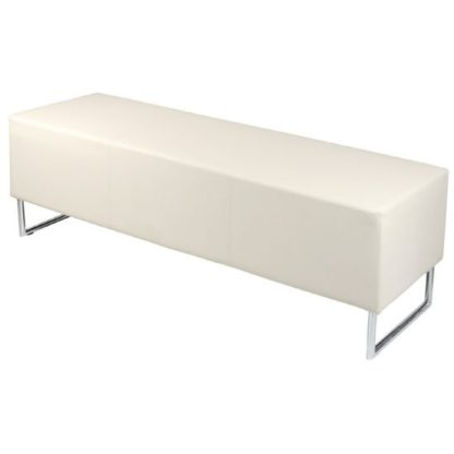 An Image of Blockette Bench Seat In Cream Faux Leather With Chrome Legs