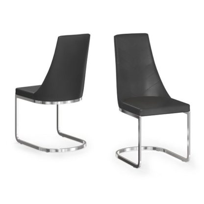 An Image of Ordonez Faux Leather Dining Chair In Black In A Pair