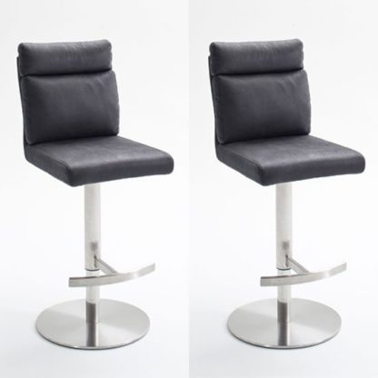 An Image of Rabea Grey Fabric Bar Stool In Pair With Stainless Steel Base
