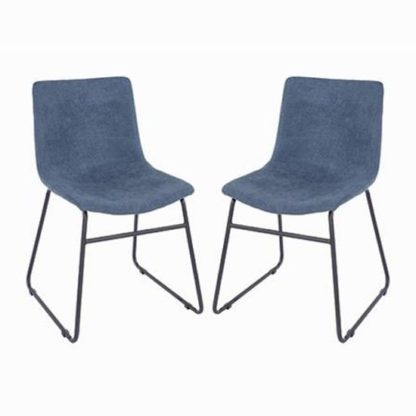 An Image of Arturo Blue Fabric Dining Chair In Pair With Black Metal Legs