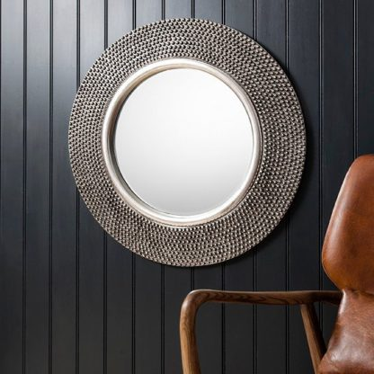 An Image of Whitton Wall Mirror Round With Bobble Effect in Pewter Finish