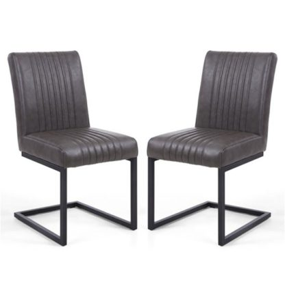 An Image of Archer Grey Leather Cantilever Dining Chair In A Pair