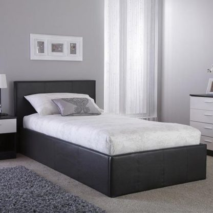 An Image of Side Lift Ottoman Fabric Single Bed In Grey