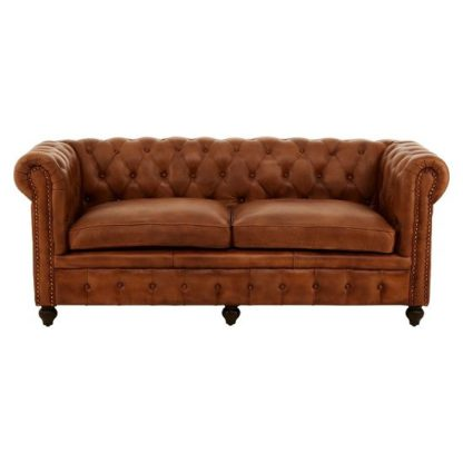 An Image of Ratliff Chesterfield Design Leather Three Seater Sofa In Brown
