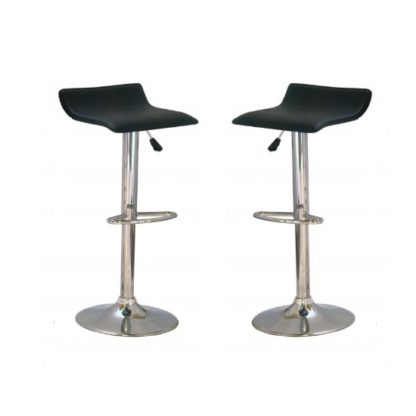 An Image of Stratos Bar Stool In Black PVC and Chrome Base In A Pair