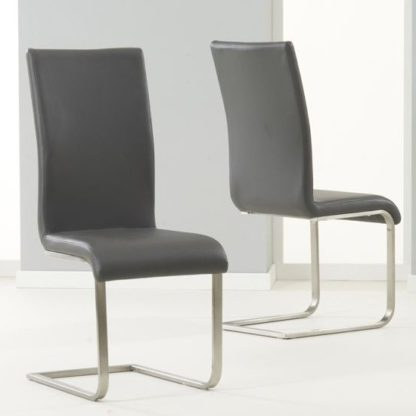 An Image of Nenque Grey PU Leather Dining Chairs In Pair