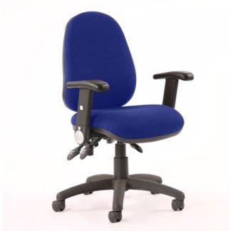 An Image of Luna II Office Chair In Stevia Blue With Folding Arms