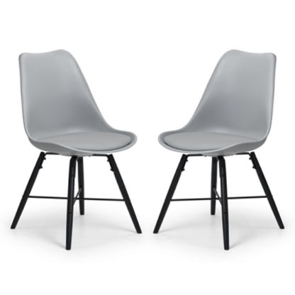 An Image of Kari Dining Chair In Pair With Grey Seat And Black Legs