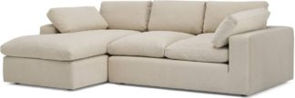 An Image of Samona Left Hand Facing Chaise End Sofa, Natural Cotton & Linen Mix